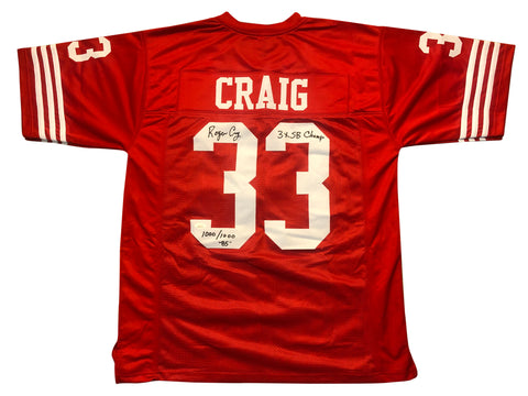 ROGER CRAIG AUTOGRAPHED CUSTOM RED JERSEY W/ TWO INSCRIPTIONS (JSA AUTHENTICATED)