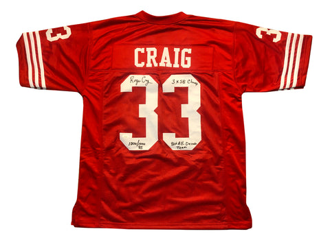 ROGER CRAIG AUTOGRAPHED CUSTOM RED JERSEY W/ THREE INSCRIPTIONS (JSA AUTHENTICATED)
