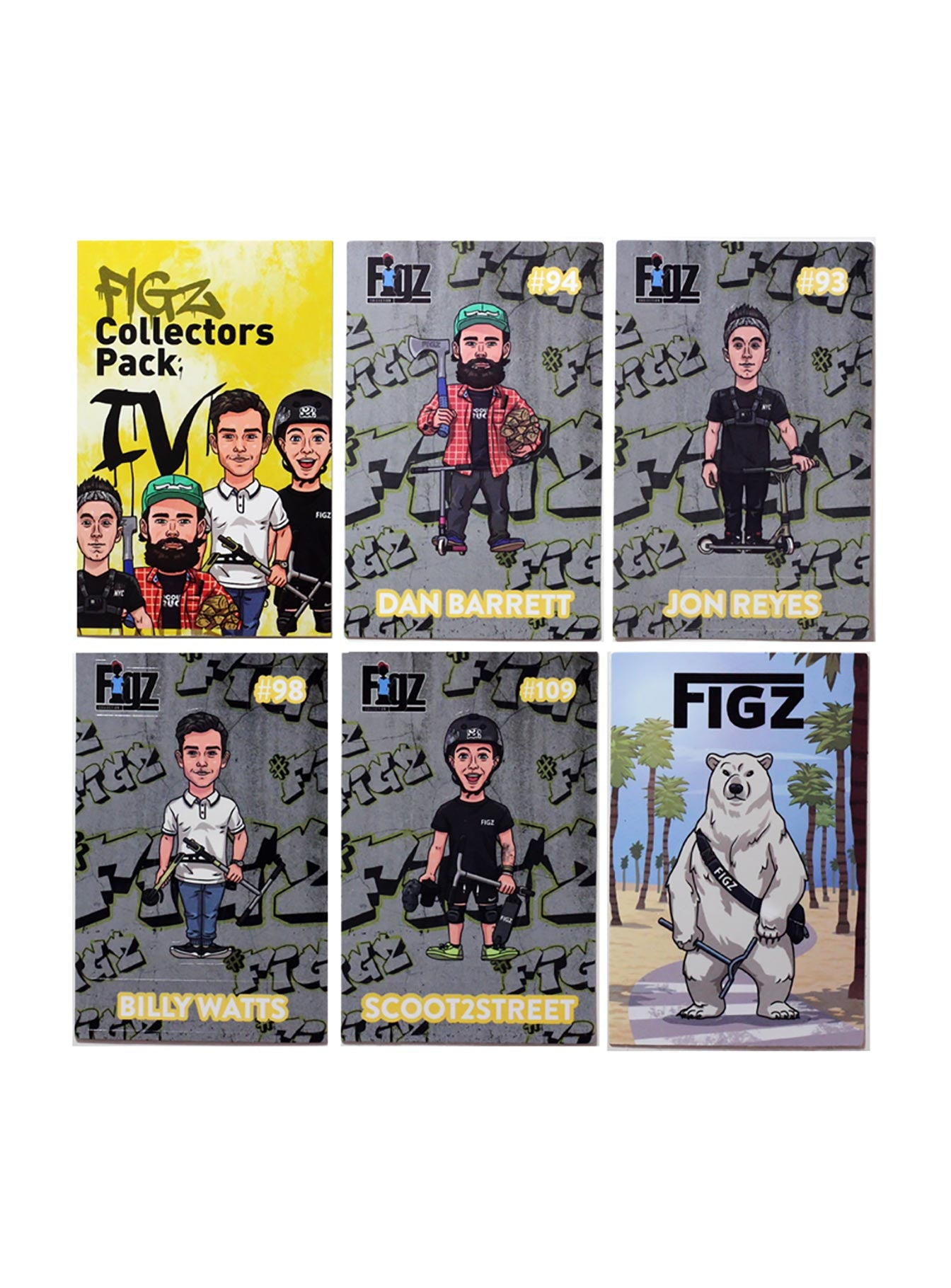 Figz Stickers Collectors Pack IV | Billy Watts, Jon Reyes, Dan Barrett, Scoot2Street