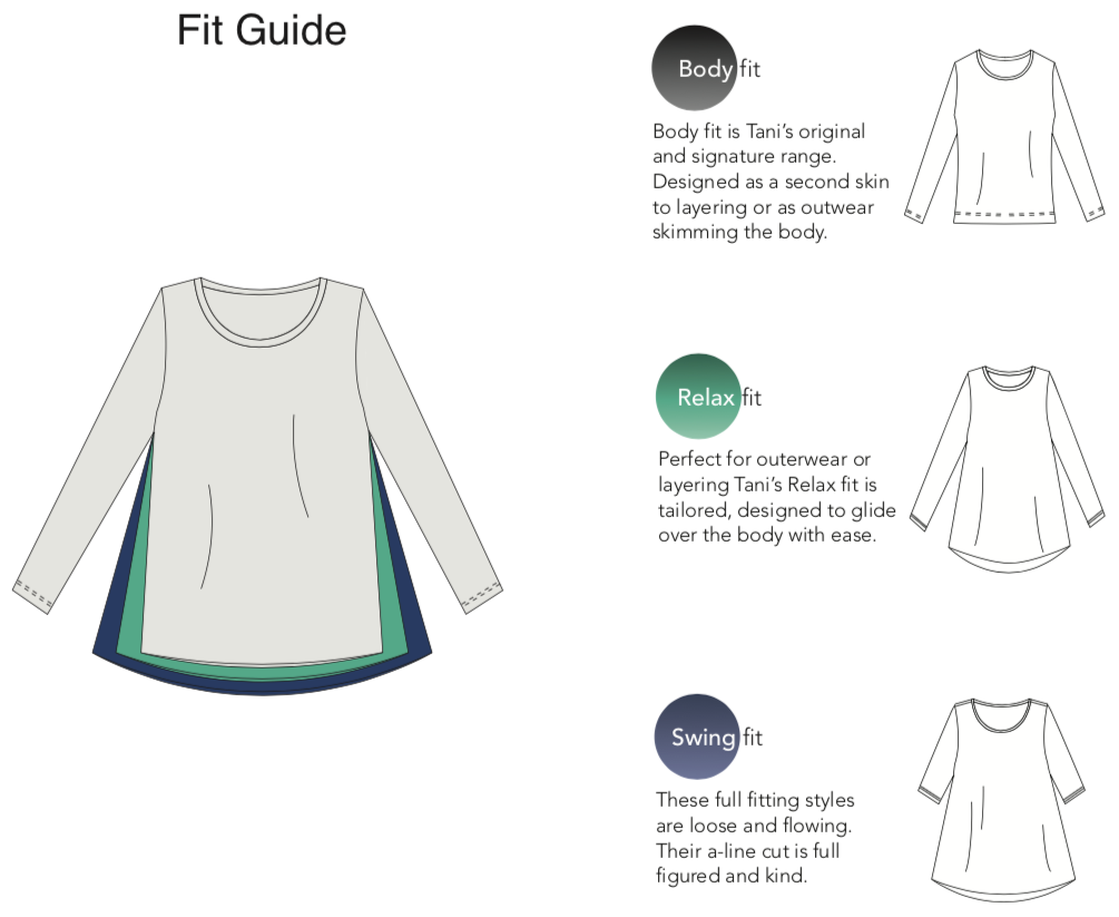 Tani Australia Fit Guide | Silvermaple Boutique