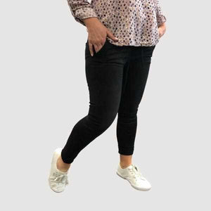 Amelie Washed Cotton Denim Black Jogger-Silvermaple Collection-Silvermaple Boutique