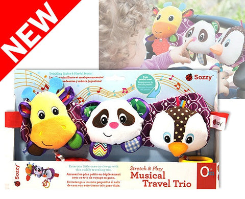 Musical Travel Trio - Lights, Sounds, Soft Plush Baby Toy