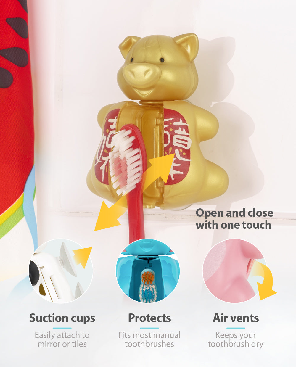 Flipper Limited Edition Golden Pig Toothbrush Cover