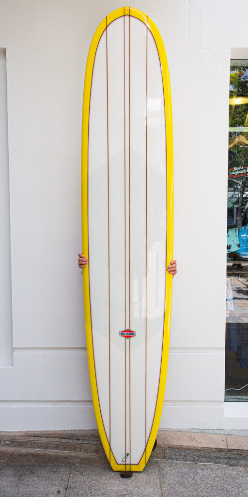 "9' 8"" First Point Longboard - Glossy Yellow Bottom and lapse Volan Deck with Quad cedar stringers."
