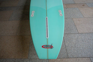 "9'1"" Tea Tree Light Aqua Green bottom/ light green deck silver pin lines"