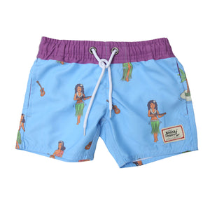 Kids Blue Hula Swim Trunk