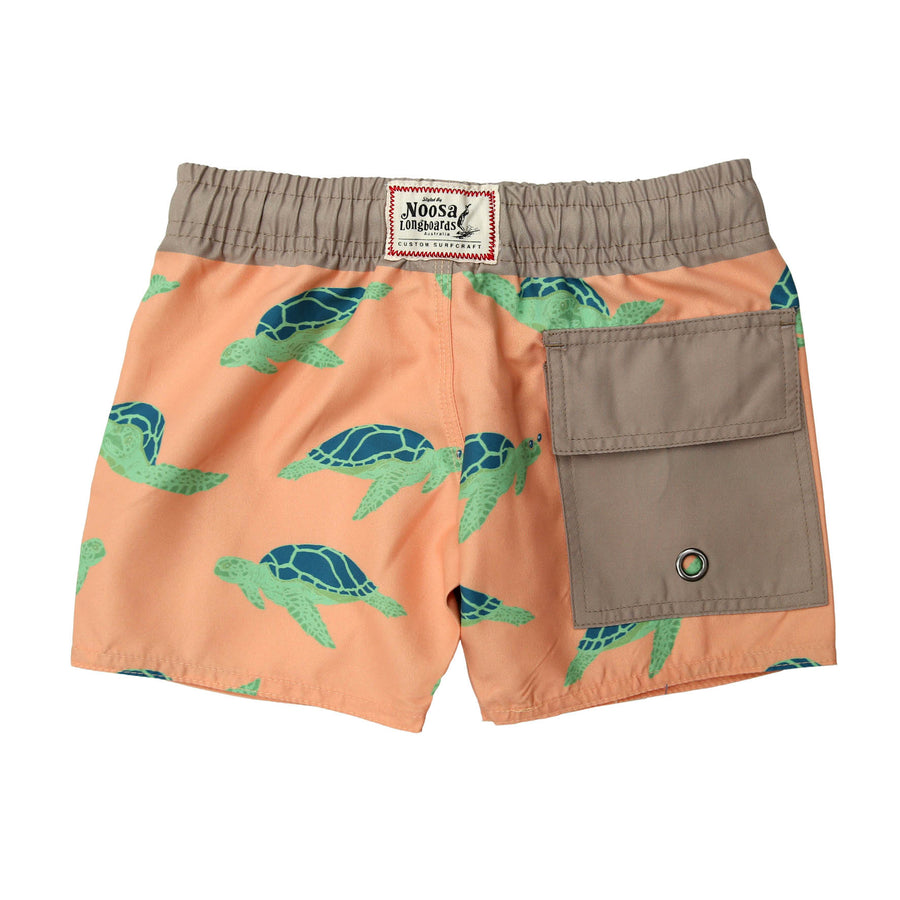 Kids Orange Turtles Swim Trunk