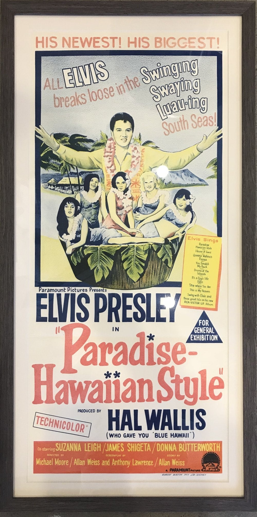 Elvis Presley Paradise Hawaiian style original movie poster