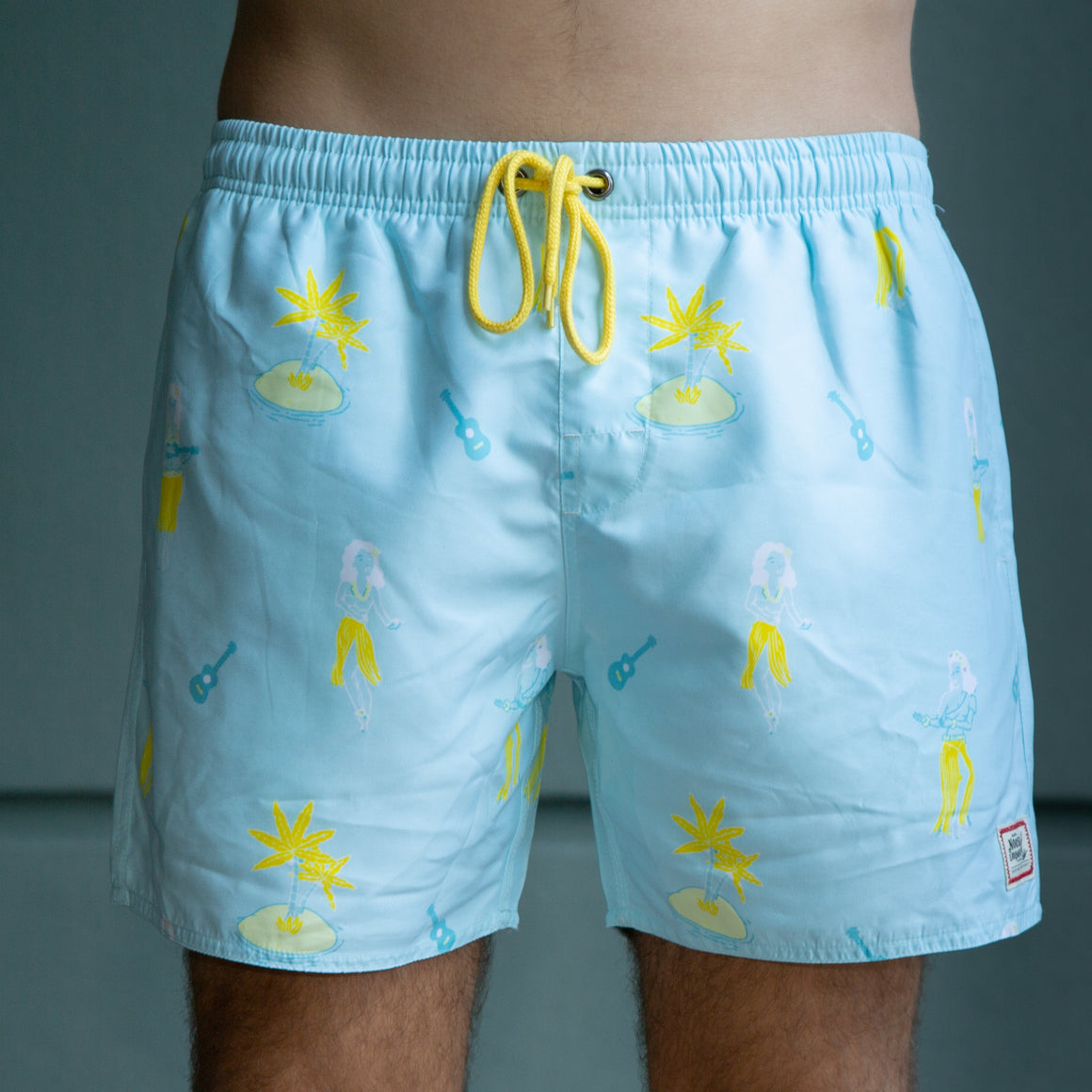 NL Blue and Yellow Hula Swim Trunks