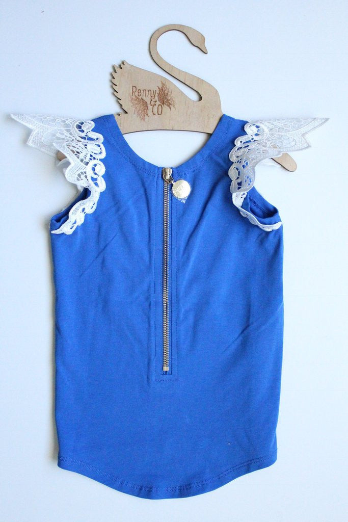 Blueberry Angel Wing Scoop Back Tee with Zip
