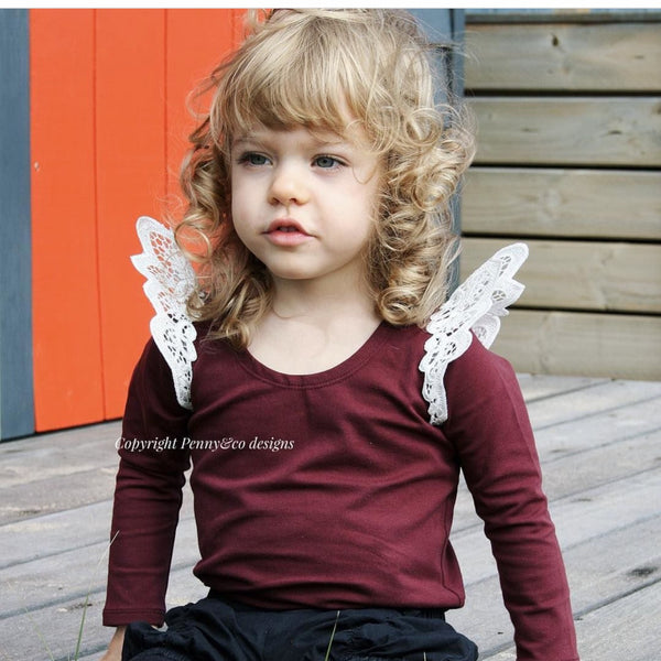 Mulberry Angel Wing Long-sleeve Onesies