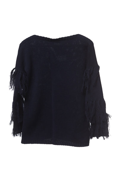 AW 17 Mii Love Mu Fringed Jumper Navy