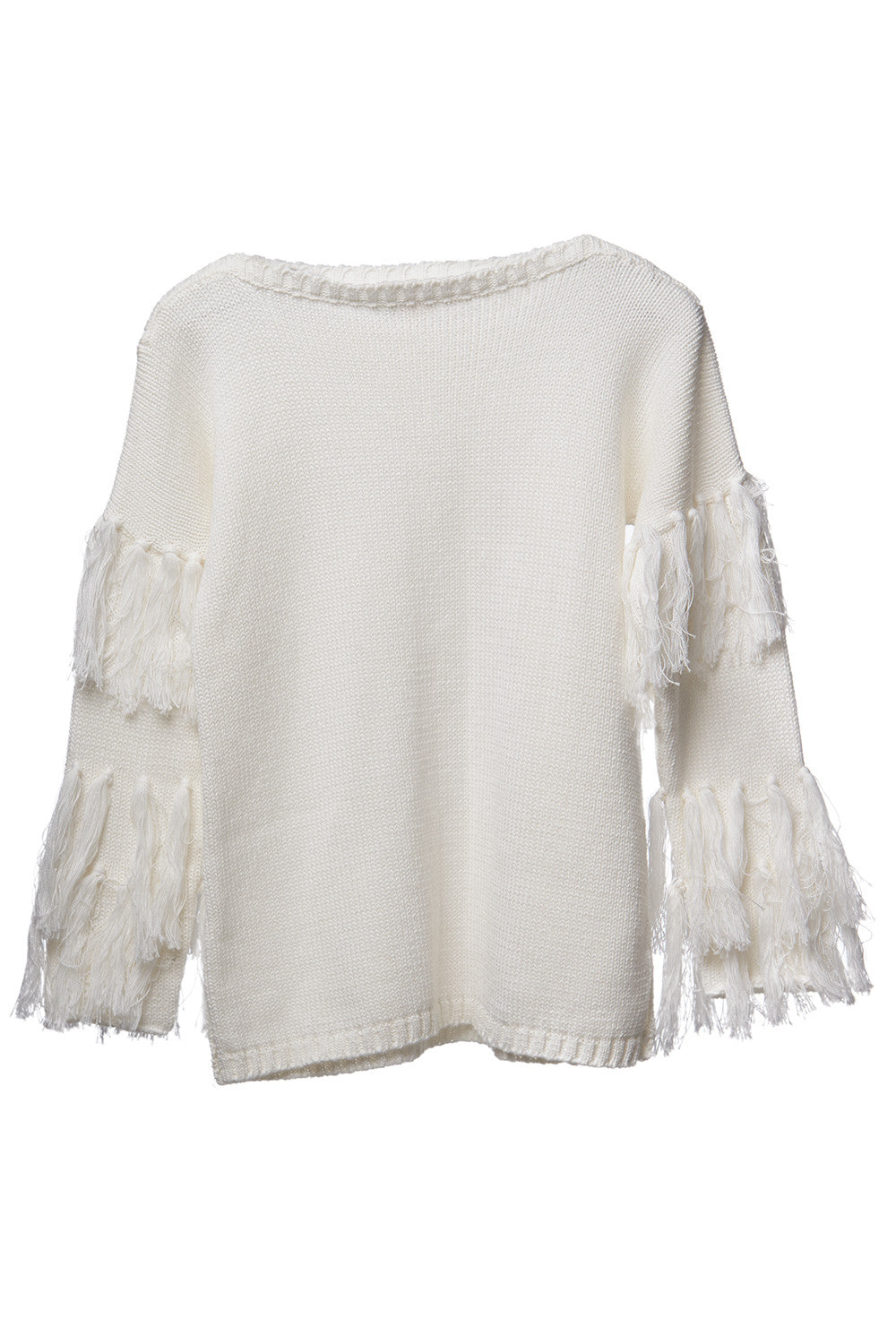 AW17 Mii Love Mu Fringed Jumper Cream