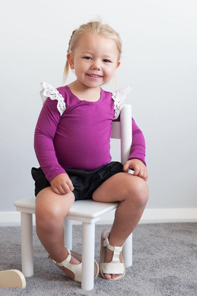 Magenta Angel Wing Long-sleeve Onesies