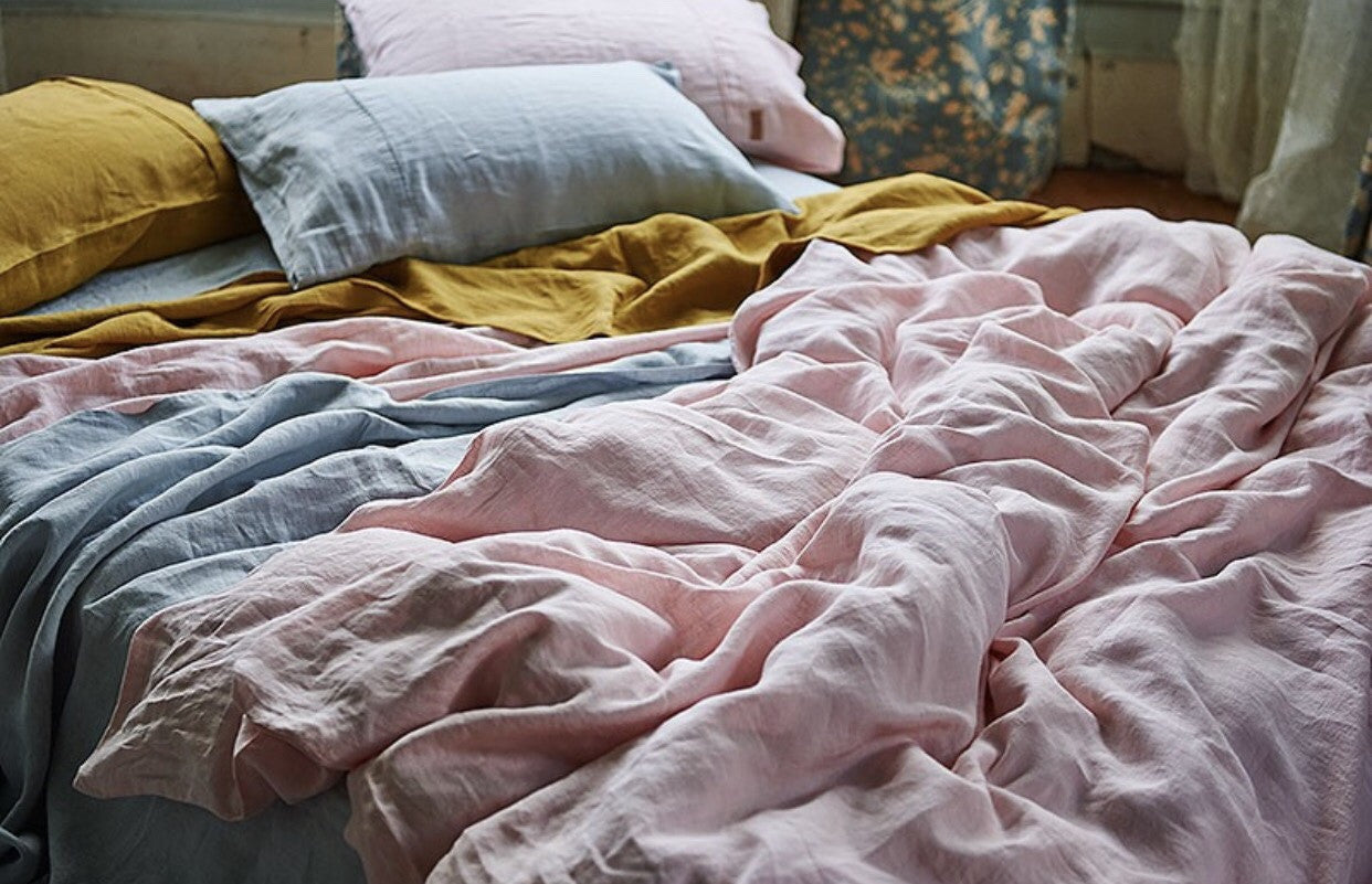 Rose Linen Quilt Cover - King