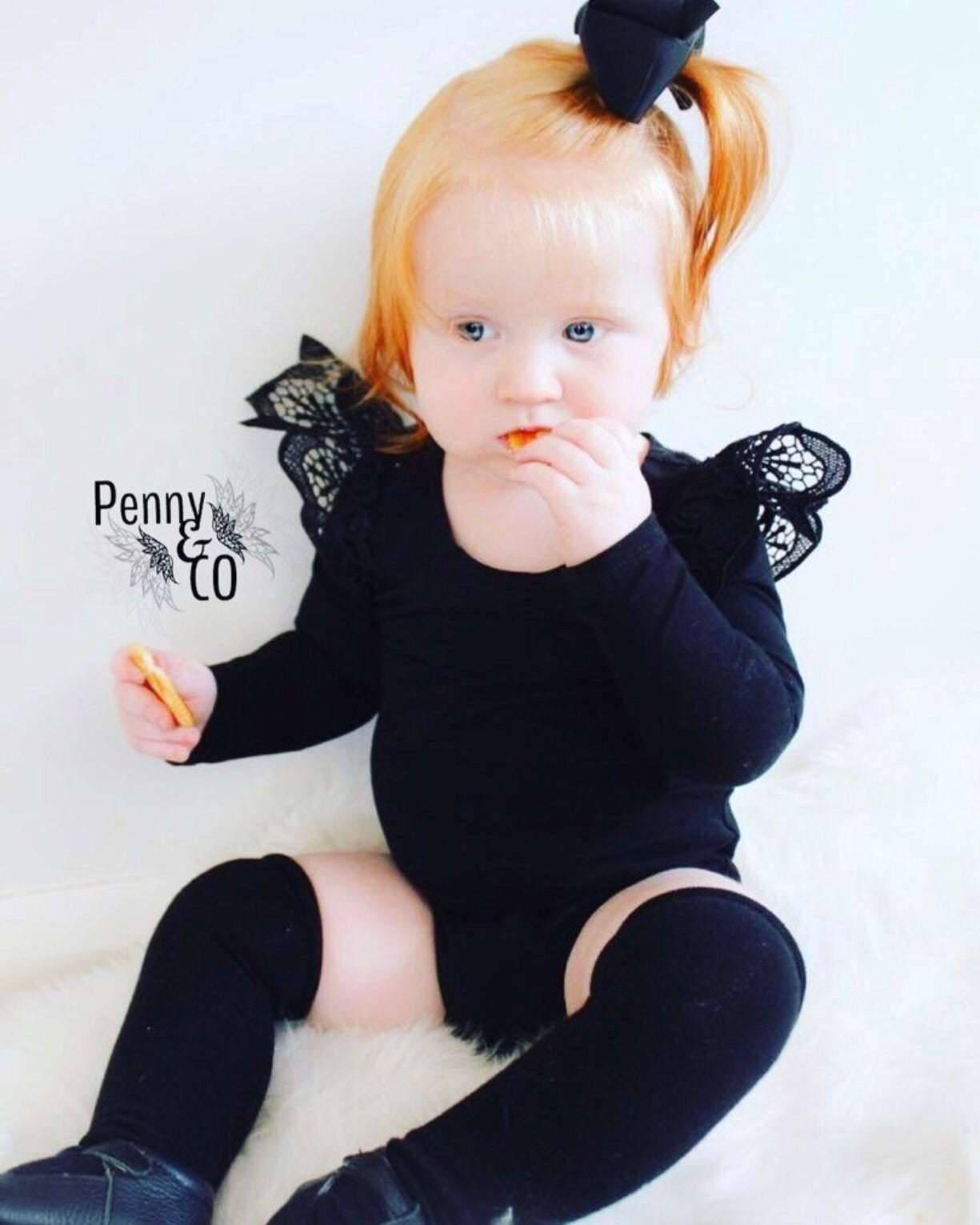 Ebony Angel Wing Long-sleeve Onesies