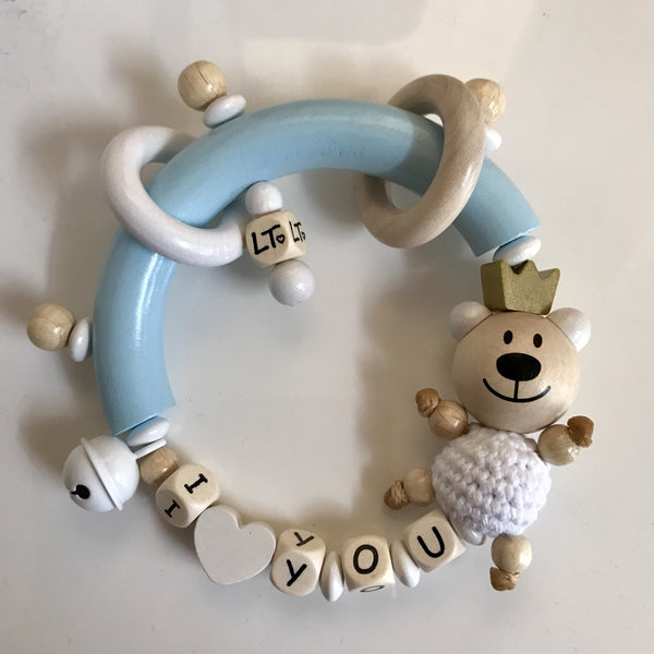 Premium Wooden Grasp Rings - I Love You - Teddy Bear