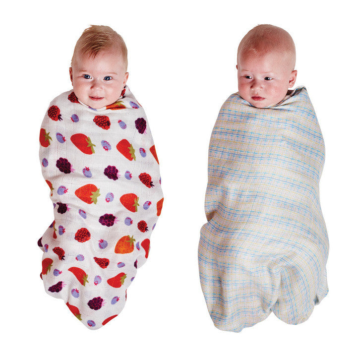 AW17 KIP&CO VERY BERRY & GRIDLOCK PASTEL BAMBOO SWADDLE SET
