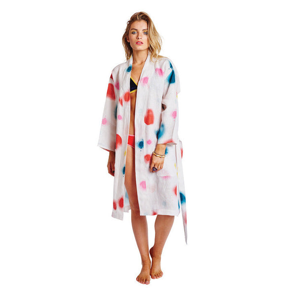 AW17 KIP&CO SPRAYED CARNIVAL LINEN BATHROBE