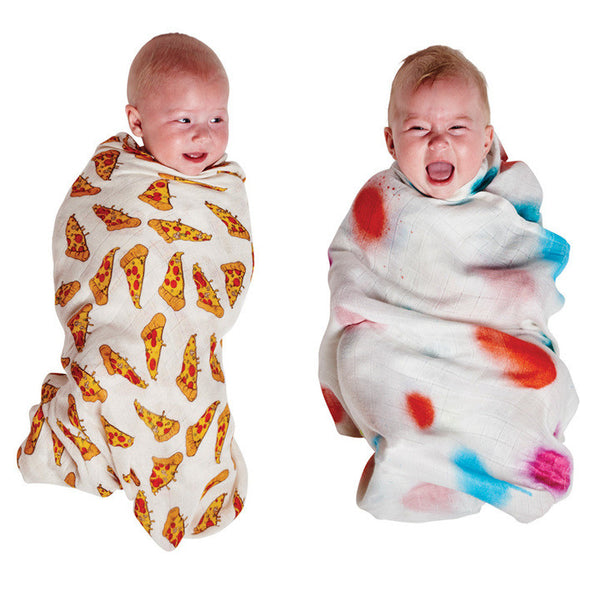 AW17 KIP&CO SPRAYED CARNIVAL & PIZZA BAMBOO SWADDLE SET