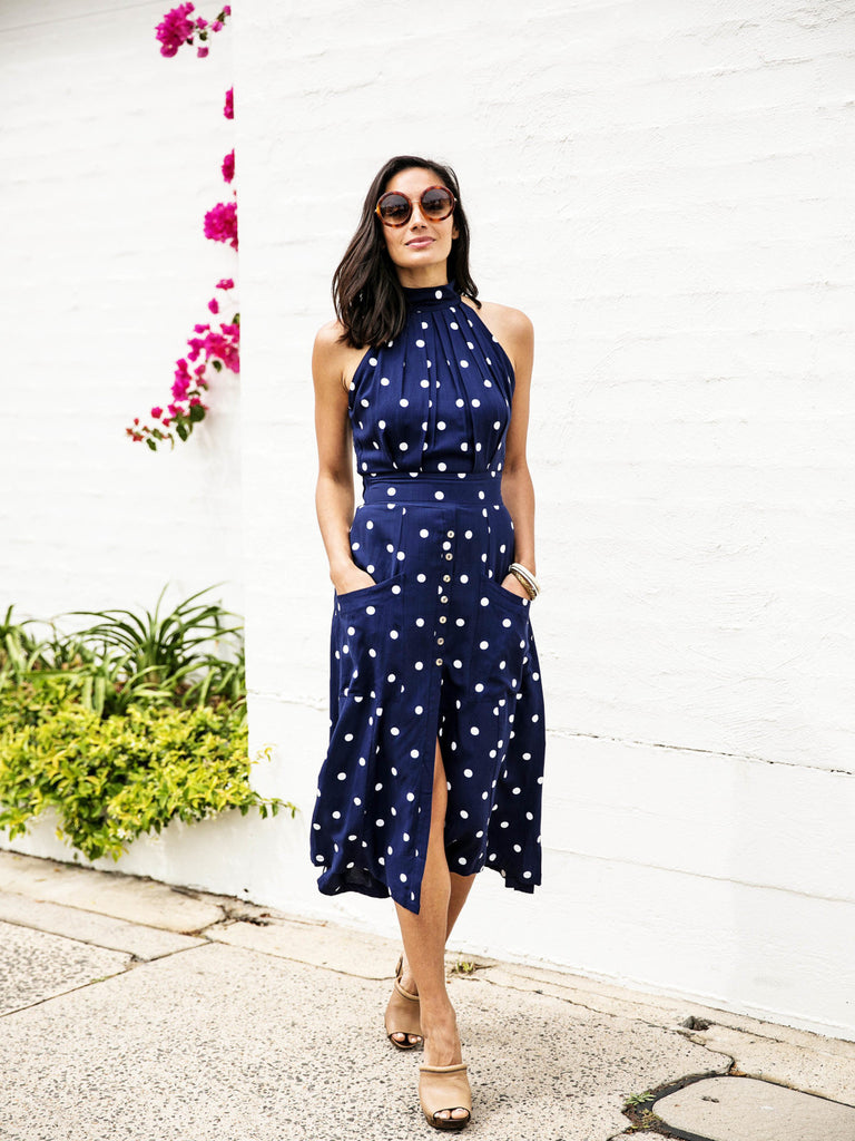 Paddo to Palmy Toulouse Dress Navy and White Polka Dot