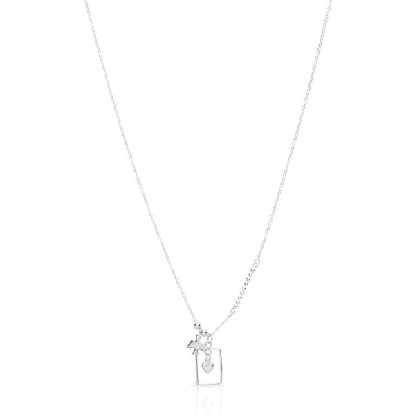 Petite Grand Charm and Frame Necklace Silver