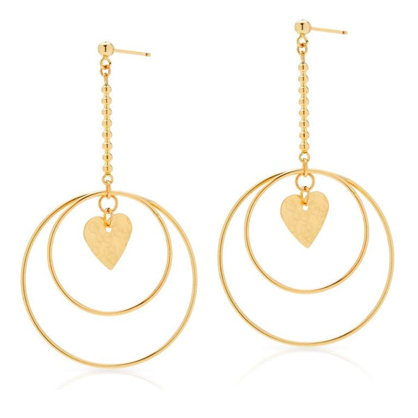 Petite Grand Heart Circle Earrings Gold