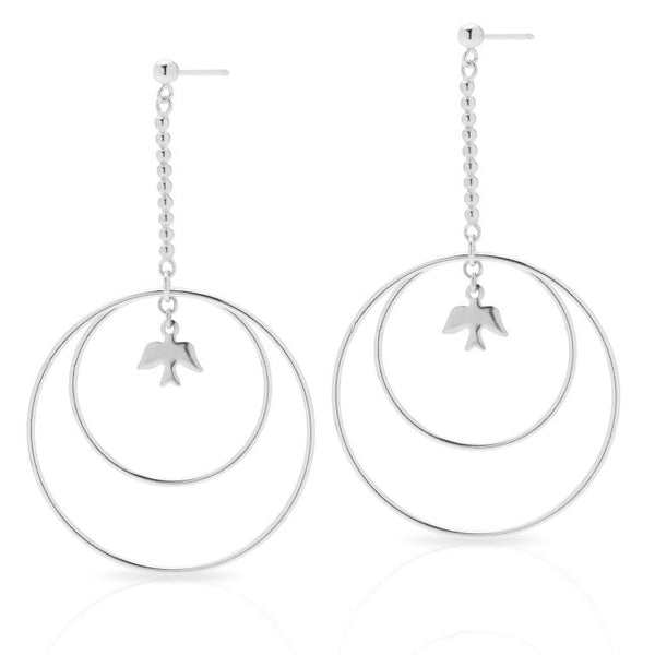 Petite Grand Dove Circle Earrings Silver