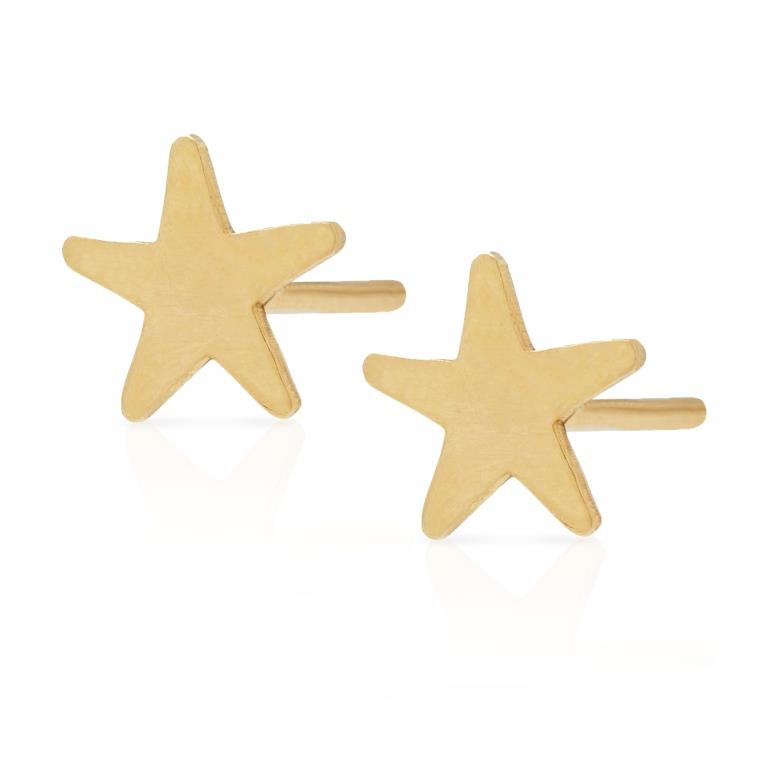 Petite Grand Star Stud Earrings Gold
