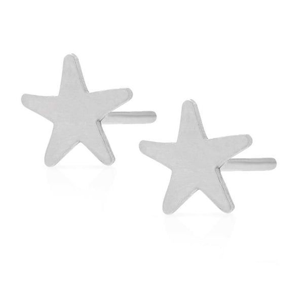 Petite Grand Star Stud Earrings Silver
