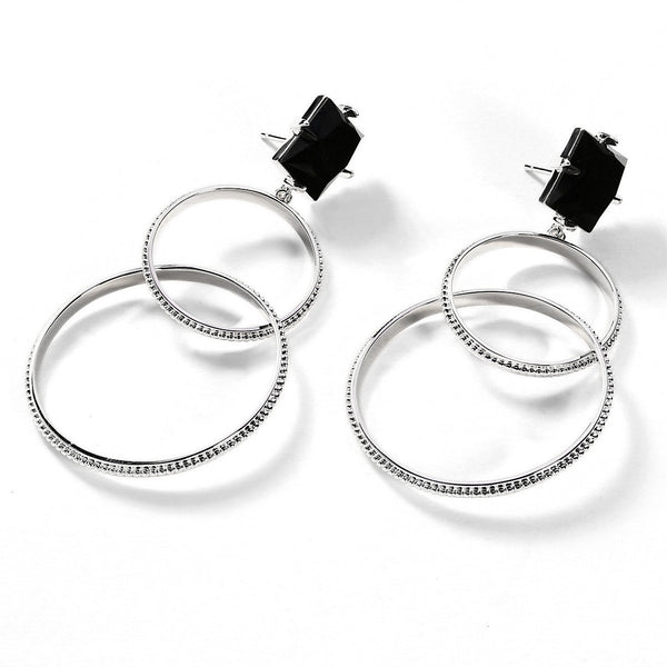 F + H Jewellery Sweet Dreams Double Hoop Earrings Silver Onyx