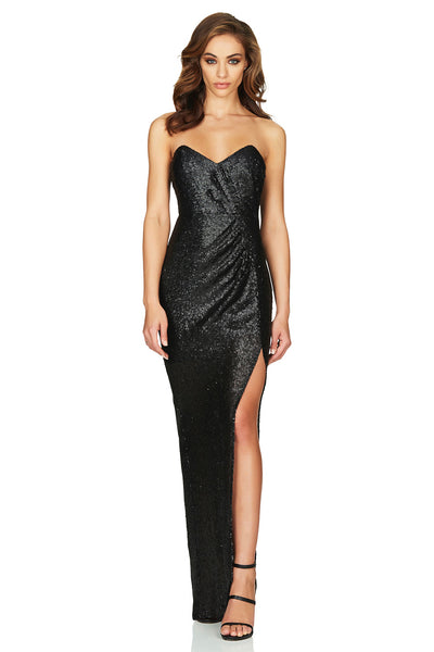 Adele Sequin Gown Black