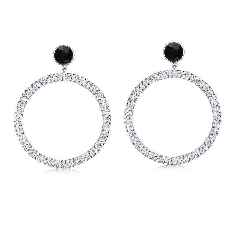 F + H Jewellery The Bianca Large Hoop Earrings Sterling Silver and Onyx