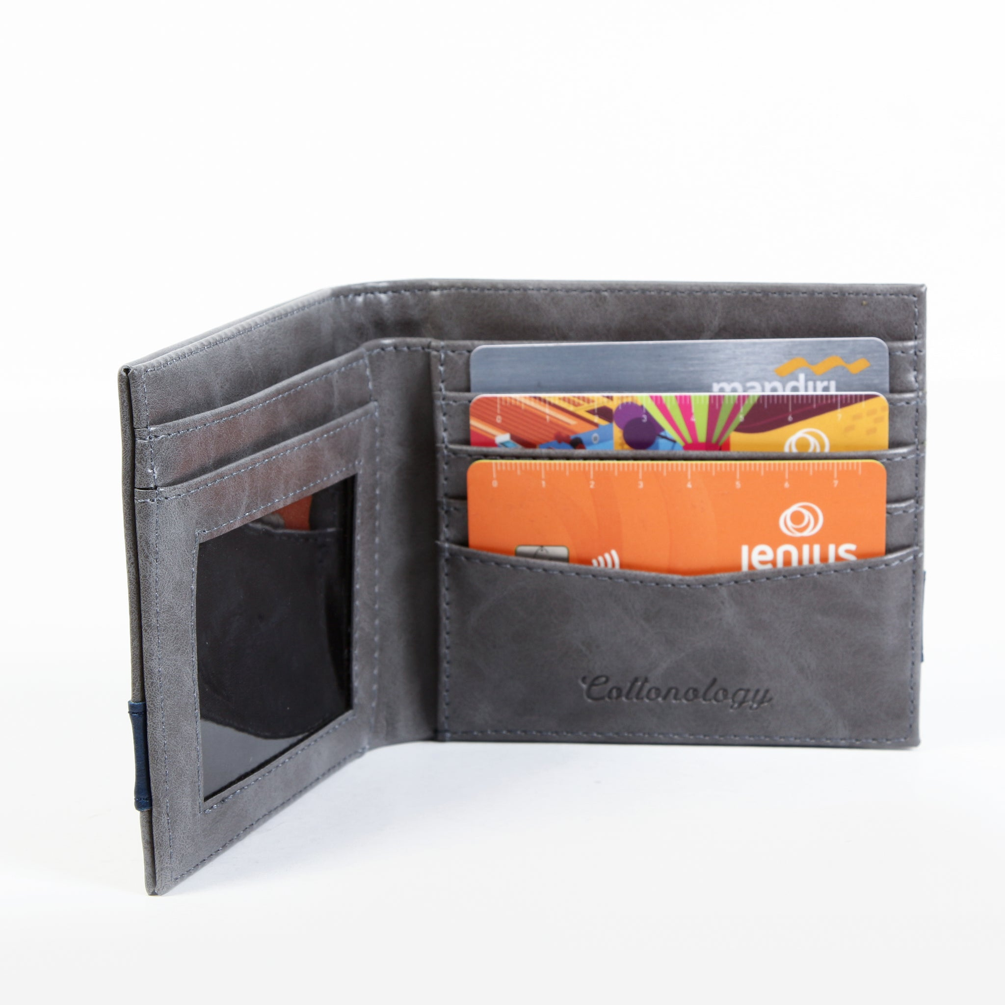 COTTONOLOGY STRIPED WALLET GREY
