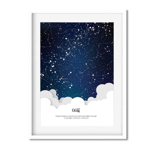 star map personalised white frame for kids