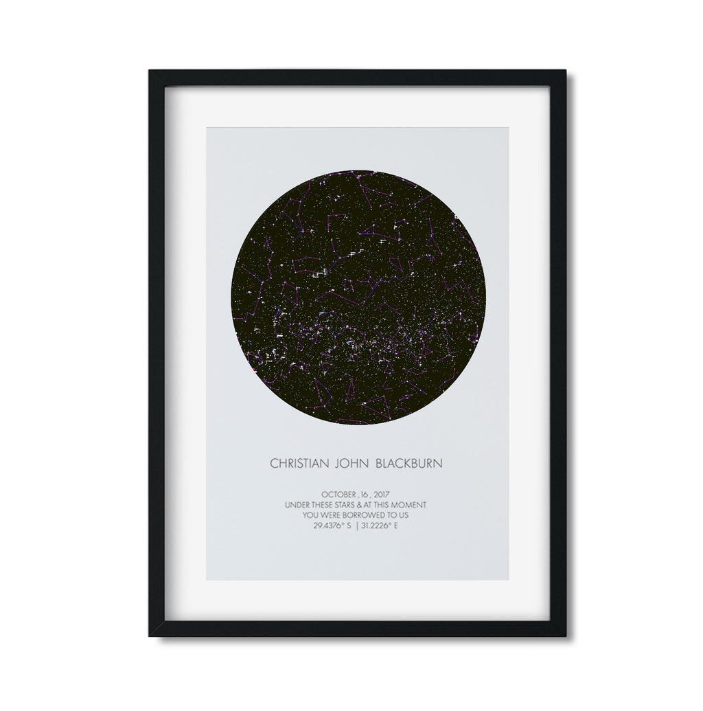 PERSONALISED STAR MAP - UNDER THESE STARS (with constellation lines) - Georgie & Moon