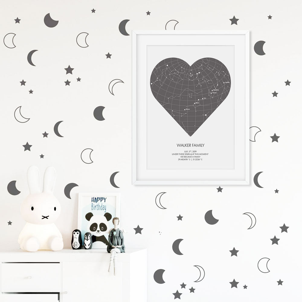 PERSONALISED STAR MAP | COLOURED HEART