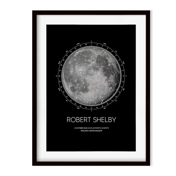 moon and star map in black frame Georgie and moon