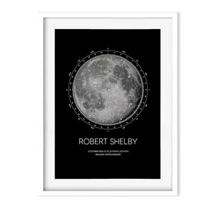 moon and star map in white frame Georgie and moon