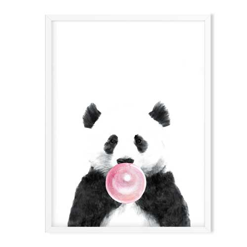 panda bear with blue bubblegum
