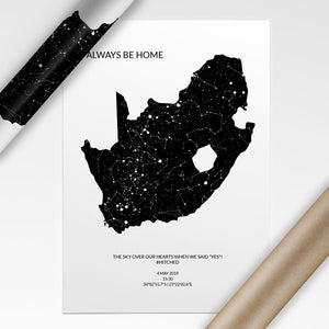 South Africa star map poster