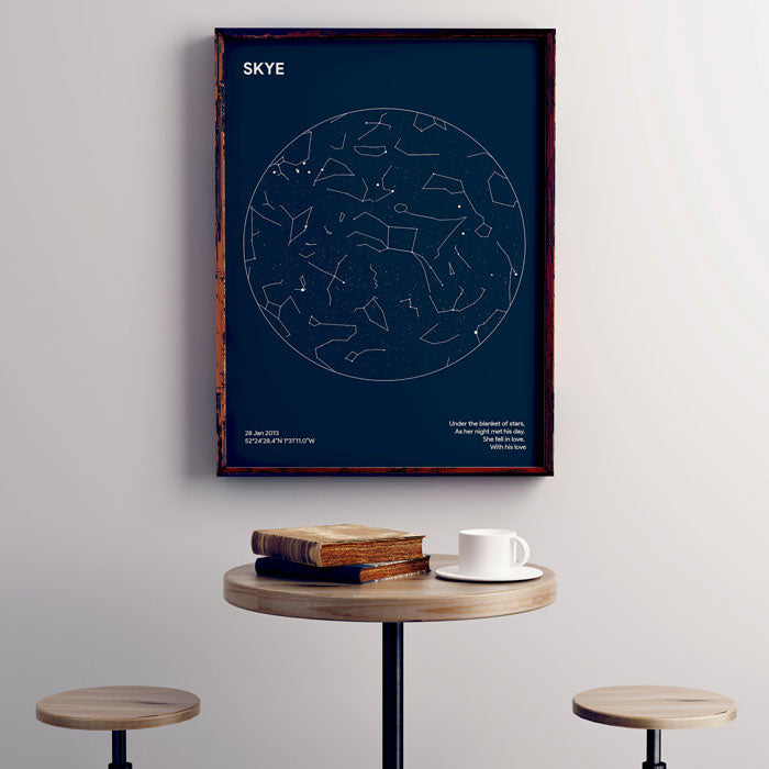 personalised star map framed poster