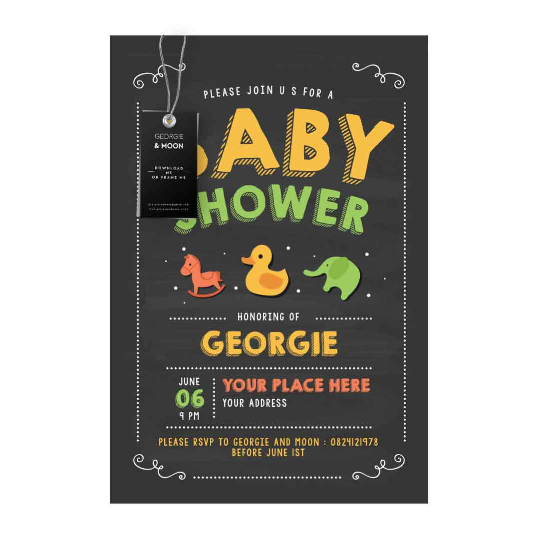 BABY SHOWER CHALKBOARD INVITATION - Georgie & Moon