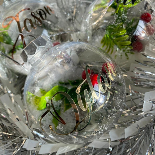clear Christmas baubles
