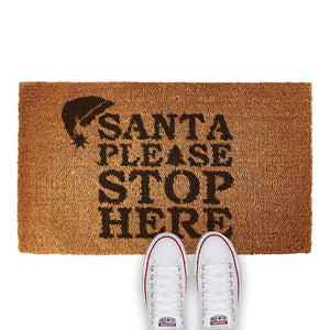 CUSTOM DOOR MAT -  SANTA STOP HERE BLACK - Georgie & Moon