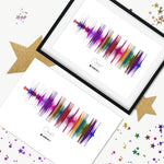 colourful multicolour  sound wave frame and canvas