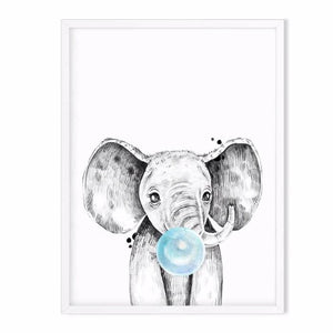 elephant wild animal art print blue - baby room decor