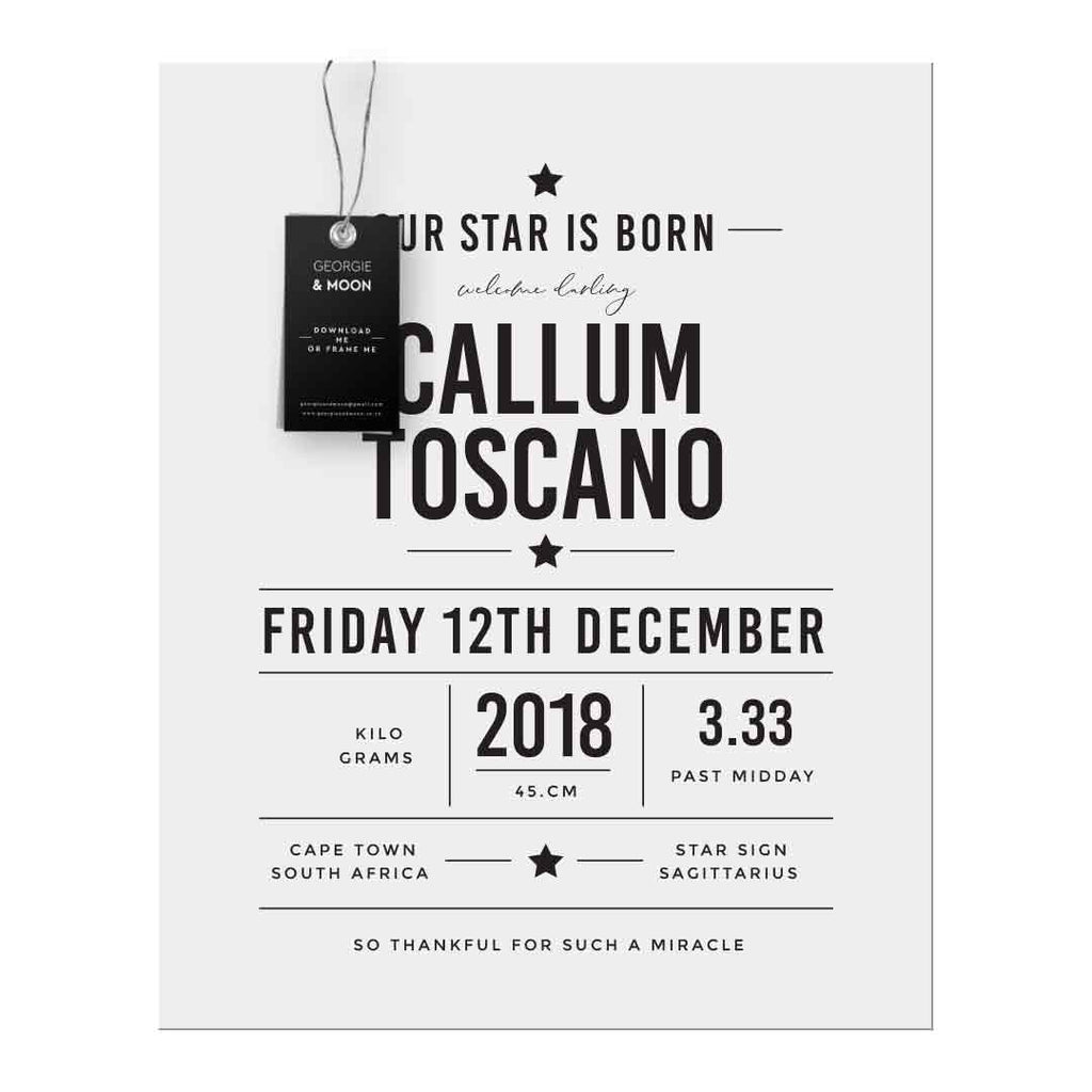 PERSONALISED BIRTH ANNOUNCEMENT - OUR STAR IS BORN - Georgie & Moon