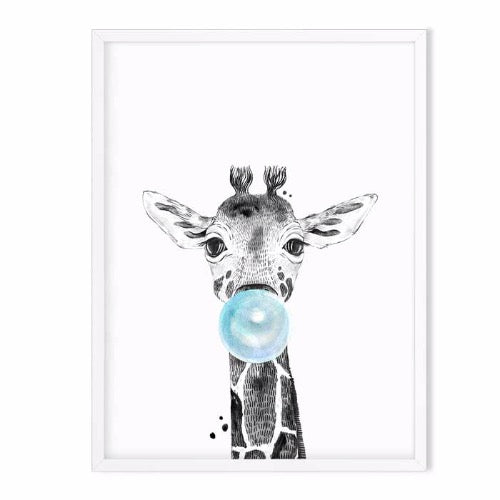 giraffe wild animal art print blue - baby room decor