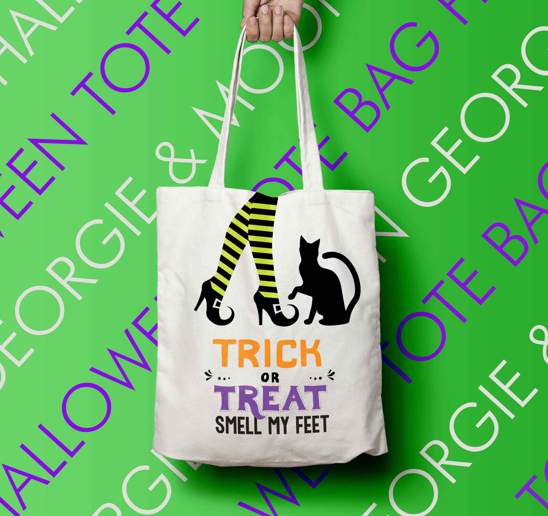 PERSONALISED HALLOWEEN TOTE BAG TRICK OR TREAT SMELL MY FEET - Georgie & Moon